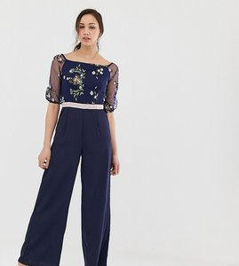 Read more about Little mistress tall embroidered top wide leg jumpsuit in navy