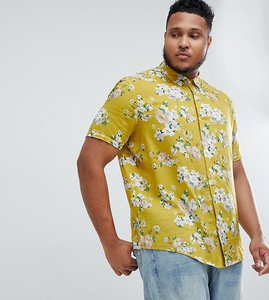 Read more about Asos design plus regular fit floral shirt in mustard - yellow