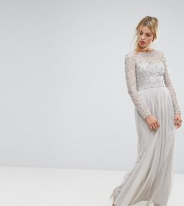 Read more about Amelia rose embellished lace maxi dress - grey