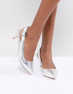 Read more about Faith kitten heel shoe in silver metallic - silver