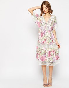 Read more about Asos premium floral midi dress with crochet insert - multi