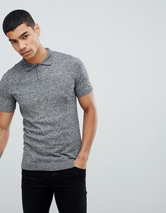 Read more about Asos knitted muscle fit polo shirt in grey twist - black white twist