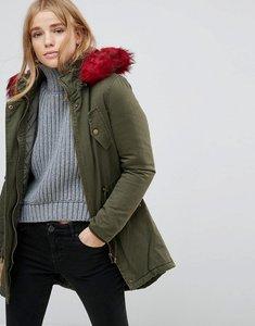Read more about Brave soul parka coat with faux fur trim - dark khaki red fur