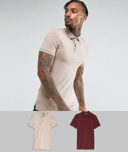 Read more about Asos extreme muscle fit jersey polo 2 pack save - multi