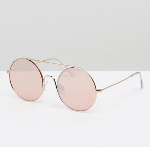 Read more about Prettylittlething round cut out frame sunglasses - gold