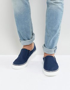 Read more about Brave soul slip on plimsolls in navy - navy