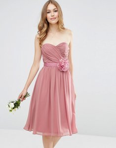 Read more about Asos wedding chiffon bandeau midi dress with detachable corsage - rose pink