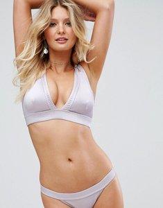 Read more about Asos fuller bust metallic rib crop bikini top dd-g - purple metallic