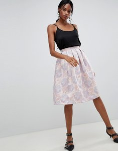 Read more about Liquorish floral jaquard pleated prom skirt - pink jaquard
