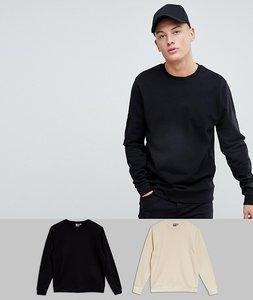 Read more about Asos sweatshirt 2 pack black beige save - black noodle