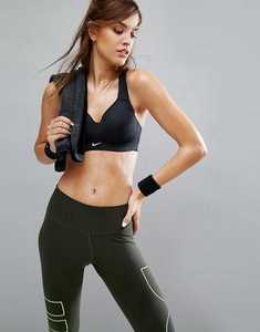 Read more about Nike pro rival full support racer back gym bra in black - black