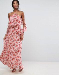 Read more about Asos beautiful floral ruffle front maxi dress - multi