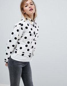 Read more about Asos design denim jacket in polka dot print - white black