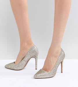 Read more about Asos design paris pointed high heels - gold glitter