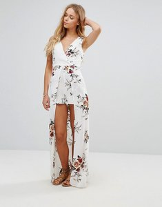 Read more about Parisian floral maxi dress with shorts - white