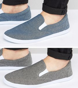Read more about Asos slip on plimsolls in black and blue chambray 2 pack save - multi