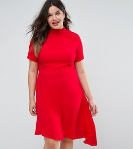 Read more about Asos curve mini tea dress with open back - red