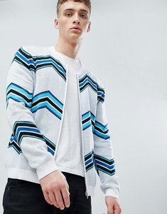 Read more about Asos knitted bomber jacket with chevron stripe - white