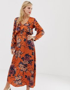Read more about Liquorish floral midi dress with ruffle front and sleeve detail