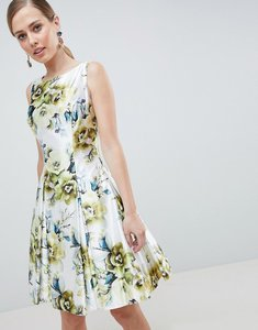 Read more about Forever unique floral print high neck prom dress - green floral