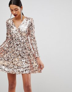 Read more about Club l rose gold mini disc sequins wrap over skater dress - rose gold