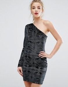 Read more about New look one shoulder glitter velvet bodycon dress - black pattern