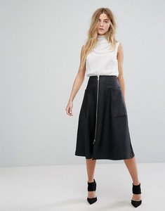Read more about Asos leather look midi skirt with zip and pockets - black