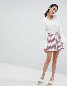 Read more about Monki stripe mini skirt in white - multi 1