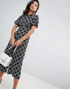 Read more about Asos design tea jumpsuit with balloon sleeve in spot and floral print - black