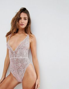Read more about Asos blair high leg lace body with lace up back - pink
