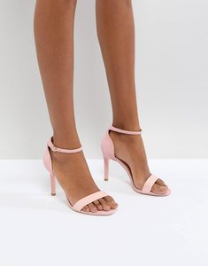 Read more about Dune london barely there heeled sandals in pink leather - pink