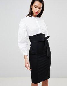 Read more about Karen millen corset shirt dress - black white