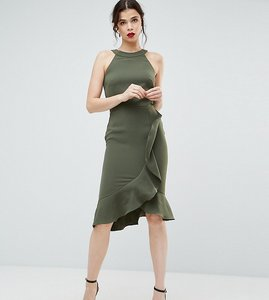 Read more about Paper dolls tall high neck midi dress with frill detail - forest green