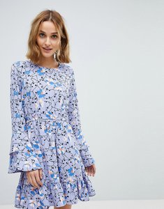 Read more about Vero moda floral dress with ruffle sleeve detail - night sky
