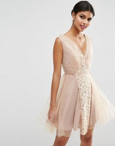 Read more about Asos wedding mesh and lace insert mini prom dress - blush