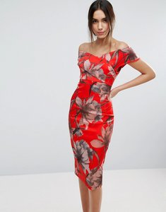 Read more about Asos bright red floral bardot pencil midi dress - red
