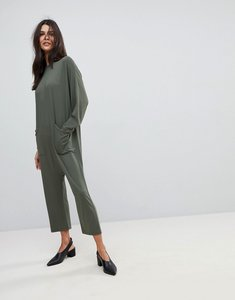 Read more about Asos minimal jersey jumpsuit with batwing sleeve - khaki