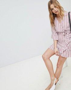 Read more about Miss selfridge stripe linen wrap dress - red multi