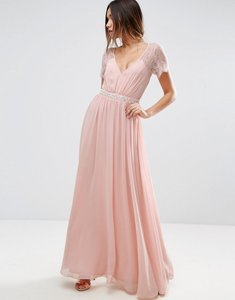 Read more about Asos kate lace embellished trim maxi dress - nude