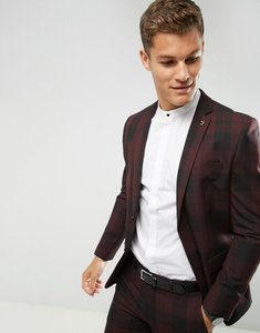 Read more about Farah skinny suit jacket in check - burgundy