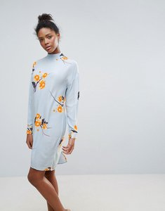 Read more about Vila high neck floral shift dress - cashmere blue
