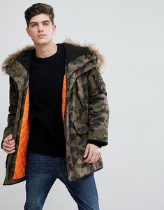Read more about Mango man padded coat with faux fur hood in camo - camo