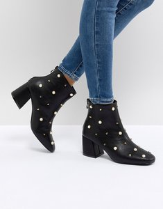 Read more about Glamorous pearl embellished heeled ankle boots - black