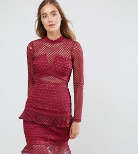 Read more about True decadence tall all over mesh skater dress with ruffle hem - berry