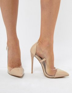 Read more about Prettylittlething clear pointed heeled court shoes - nude