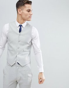 Read more about Asos design wedding super skinny suit waistcoat in ice grey linen - ice grey
