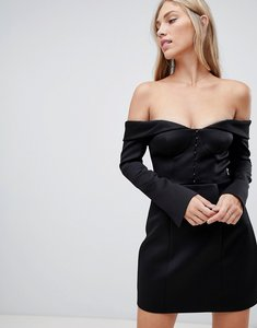 Read more about Forever new structured bardot bodycon mini dress in black