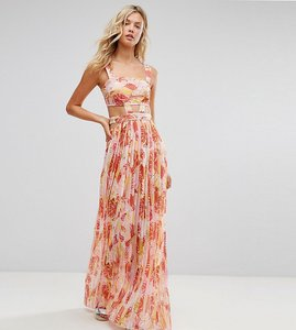 Read more about Asos tall beach cut out chiffon dress in pink palm print - multi