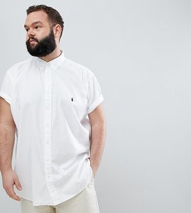 Read more about Polo ralph lauren big tall short sleeve garment dyed shirt player logo in white - white