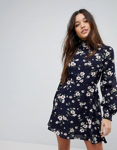 Read more about Prettylittlething high neck floral dress - navy
